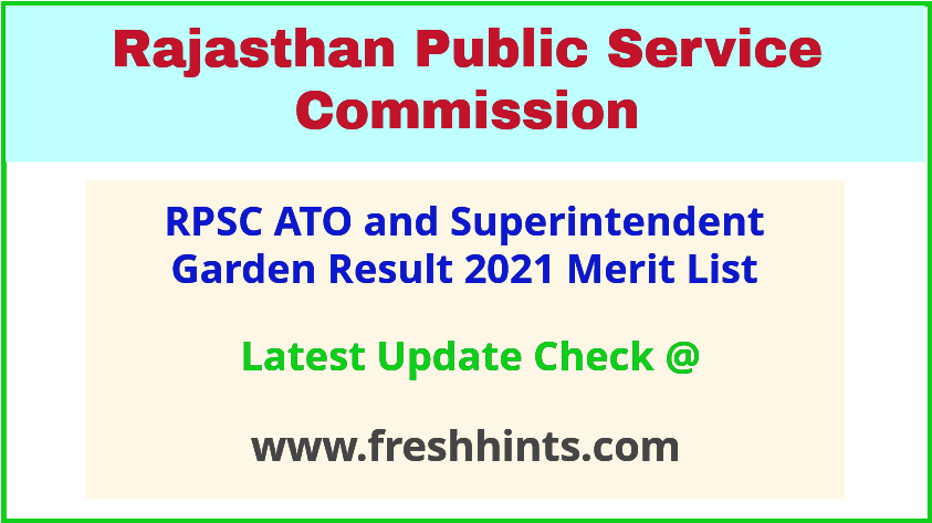 Rajasthan ATO SG Selection List 2021
