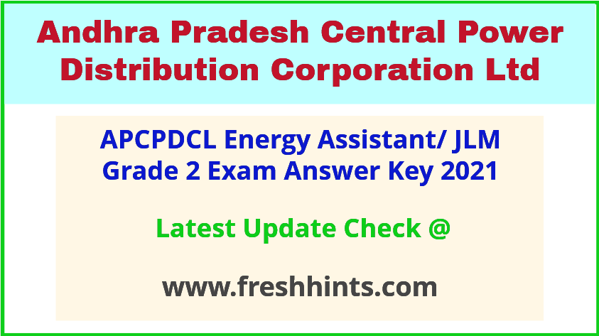 APCPDCL Junior Lineman Grade 2 Exam Answer Sheet 2021