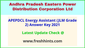 APEPDCL Energy Assistant Answer Sheet 2021