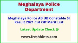 Meghalaya Police Constable SI Selection List 2021