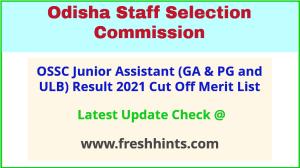 Odisha Junior Assistant GA PG and ULB Selection List 2021