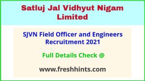 SJVN field officer and engineer recruitment 2021
