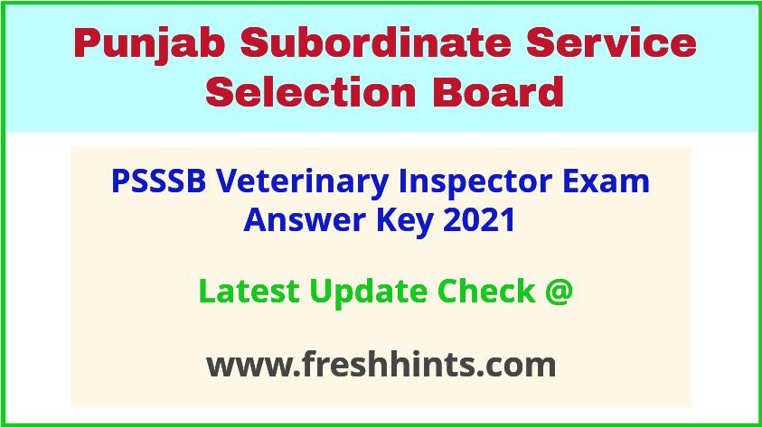 SSSB Punjab Veterinary Inspector Exam Answer Sheet 2021