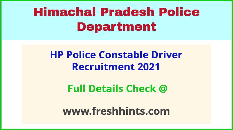 HP police driver recruitment 2021