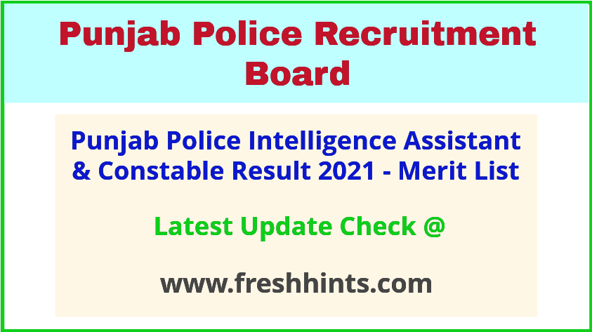 PP Intelligence and Investigation Cadre Selection List 2021