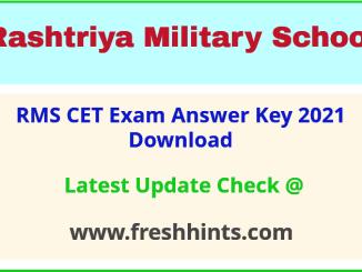 Rashtriya Military School Entrance Exam Answer Sheet 2021