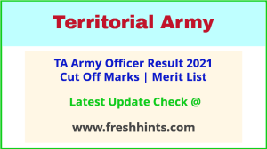Territorial Army Officer Selection List 2021