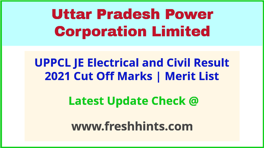 UPPCL Junior Engineer Electrical Civil Selection List 2021
