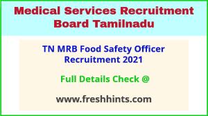 TN MRB food safety officer recruitment 2021
