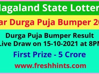 Nagaland Lottery Dear Durga Puja Bumper Winner List 2021