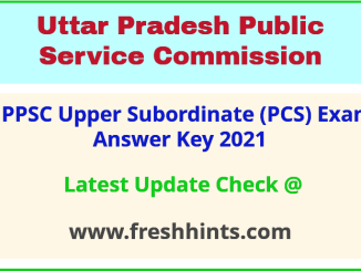 UP Upper Subordinate Answer Sheet 2021