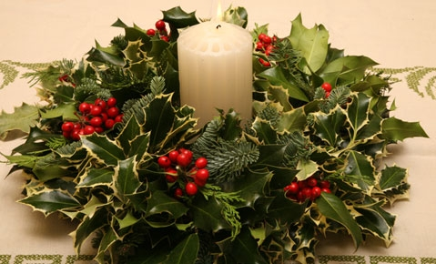 Christmas And Holiday Holly And Fir Wreath Fresh Holiday