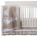 Khaki and White Crib Bedding