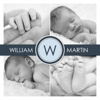 Preppy monogram navy and pale blue birth announcement. Love the black and white photos with the color scheme.
