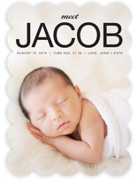 Love the photo-centric design of this pretty birth announcement with scalloped edges.