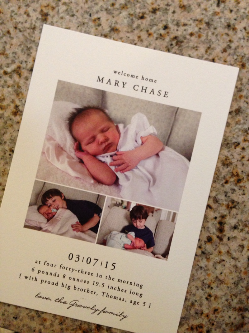 The final product: Birth Announcement from Minted