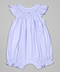 blue bishop smocked romper