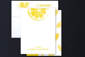 Personalized Lemon Notecards