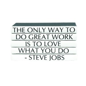 Decorative White Books with Steve Jobs Quote