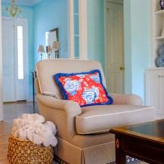 Pretty club chairs in the family-friendliest fabric