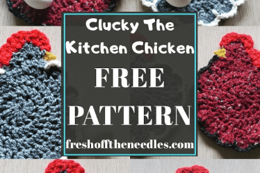 Clucky The Kitchen Chicken free crochet pattern chicken pattern chicken potholder pattern easy crochet fast crochet pattern