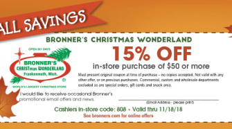 "Bronner's: ""The"" Christmas Store- NEW Coupon To Use!"