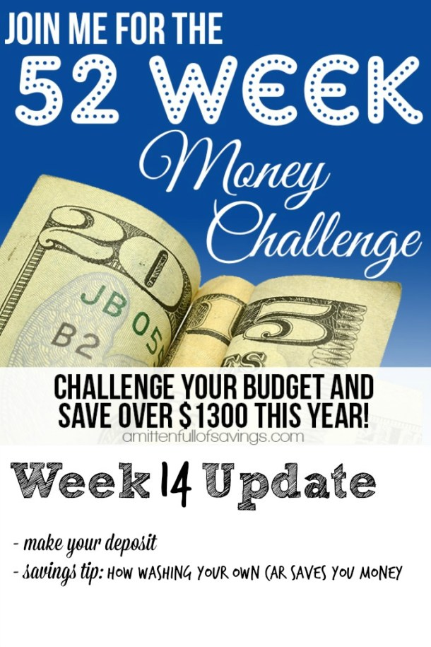 Need help on saving money? Here's an easy way to save money each week and it only requires a little from YOU! 52 Week Money Challenge - Ways To Save Money Week 14