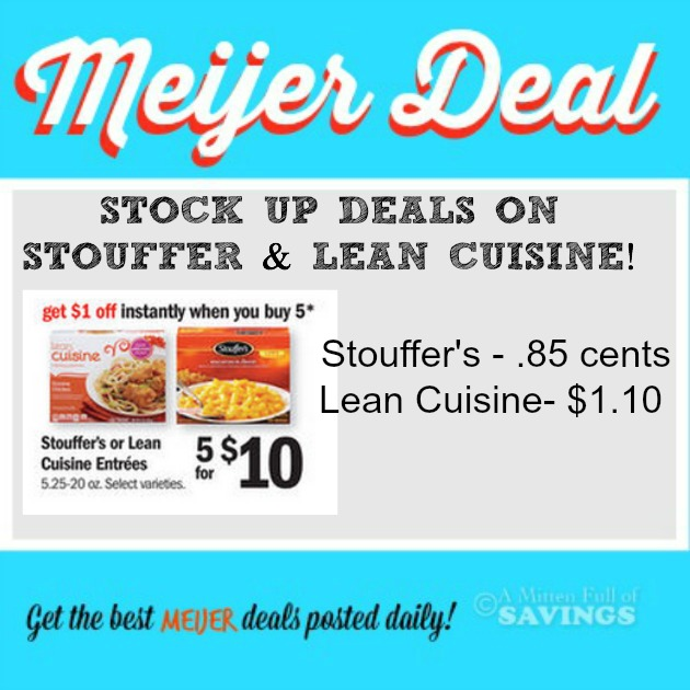 graphic relating to Stouffer Coupons Printable named Meijer: Stouffers Lean Delicacies Discounts Setting up at .85 cents