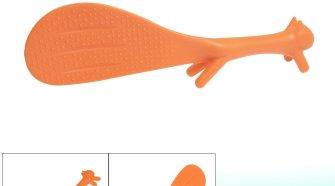 Orange Plastic Squirrel Shaped Non-stick Rice Spoon Scoop