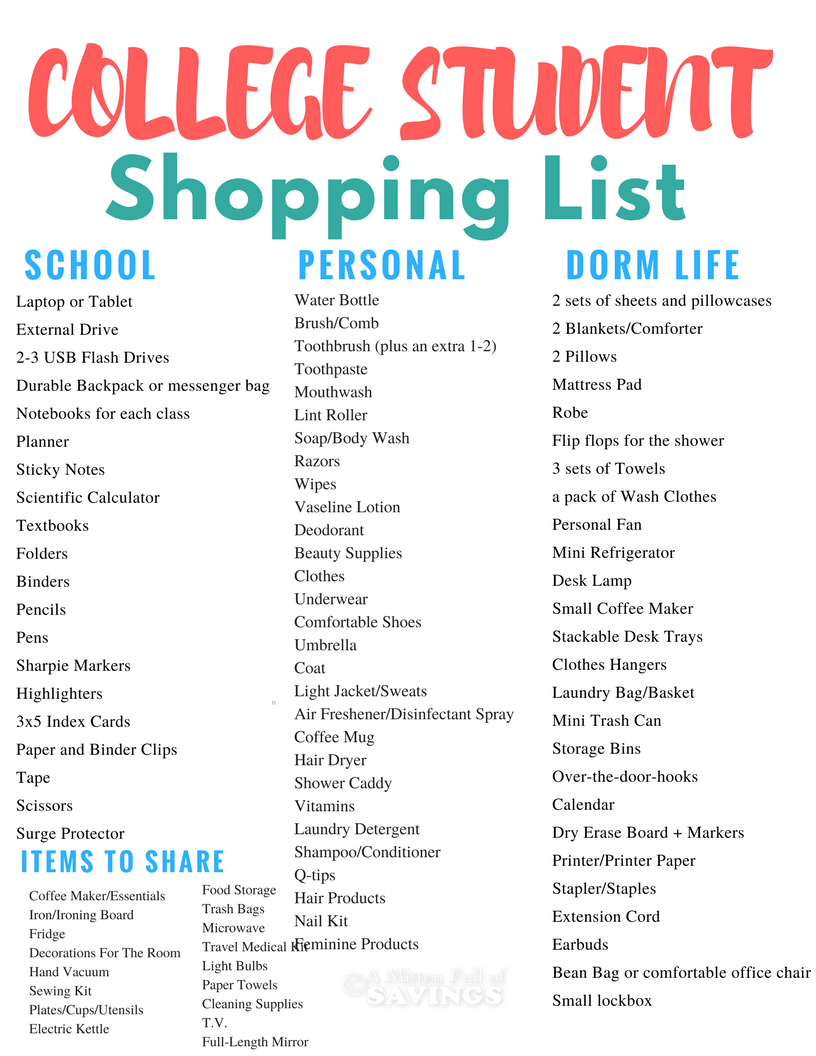 Download a free back to school planner for College Students. Get a list of all the essentials needed to start your freshman year at College. Even if you are not staying on campus, this college back shopping list will help you get ready for life as a college student! Head to the blog to get this free printable!