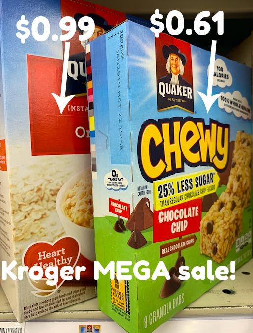 Kroger MEGA: Quaker Instant Oatmeal $0.99 + Granola Bars $0.61 #stockup