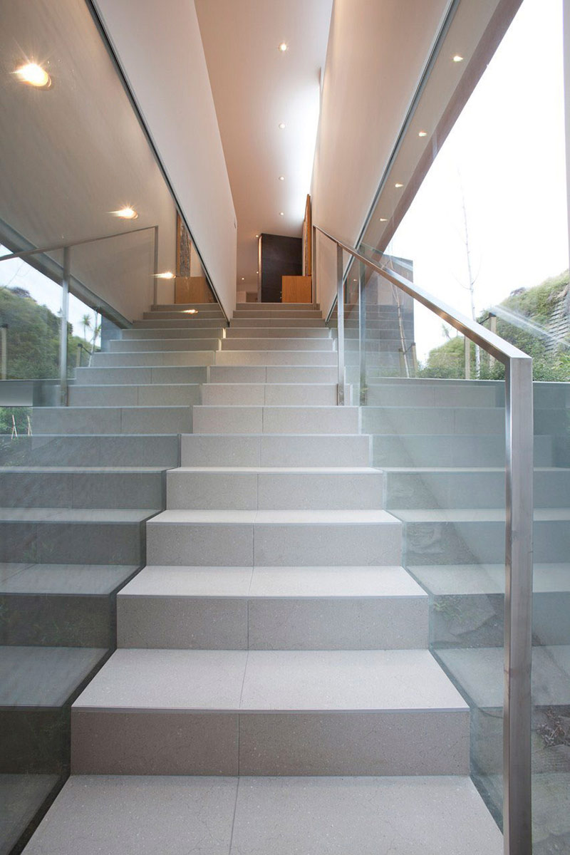 Stairs Glass Wall Redcliffs House Christchurch New
