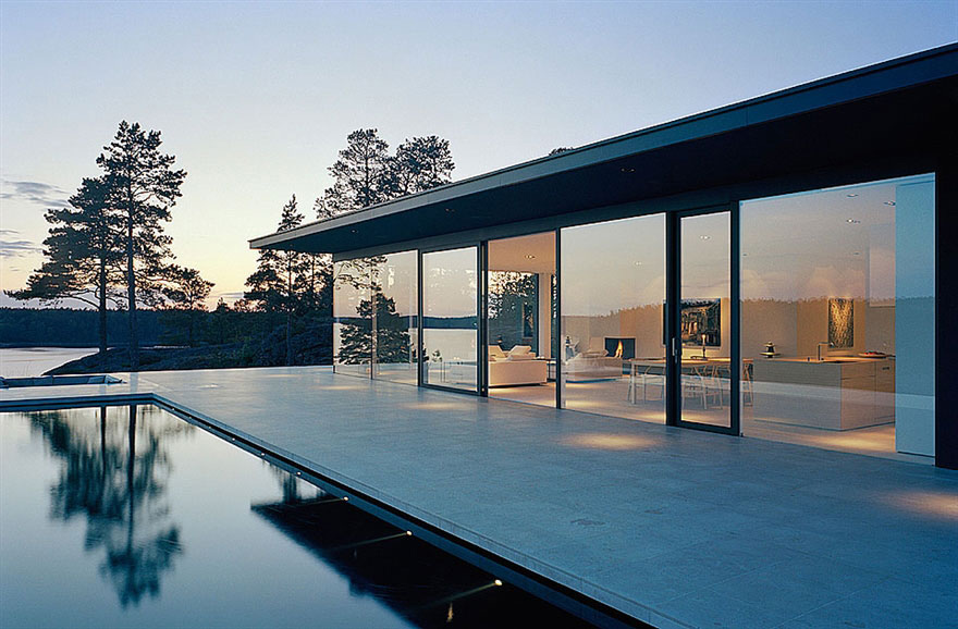 Pool Terrace Glass Walls Stunning Lake House In Sweden