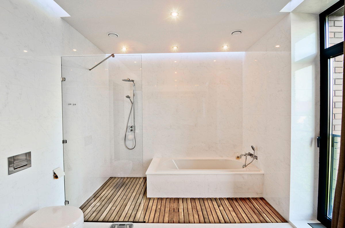 White Bathroom Glass Shower Wood Flooring Large Family