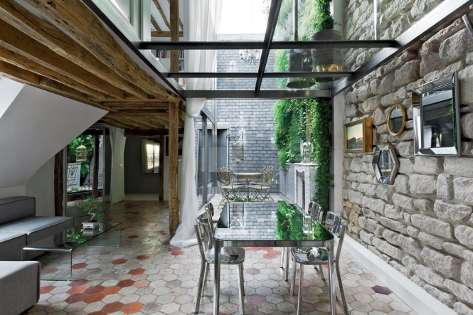 Dining E Beams Glass Walls Stylish Two Floor Apartment In Paris