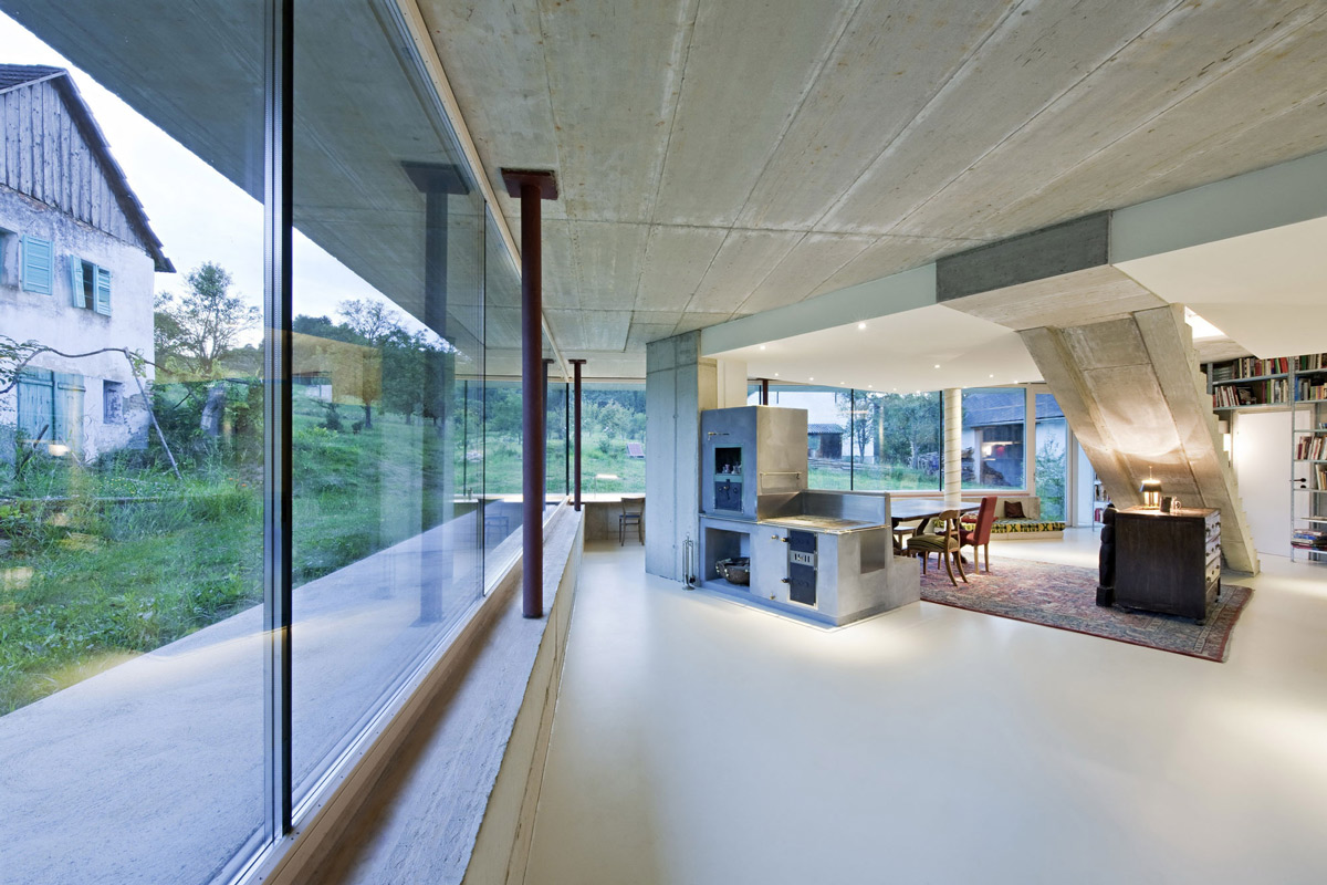 Concrete Oven, Dining Space, Old Farm House Renovation and Expansion in Burgenland, Austria