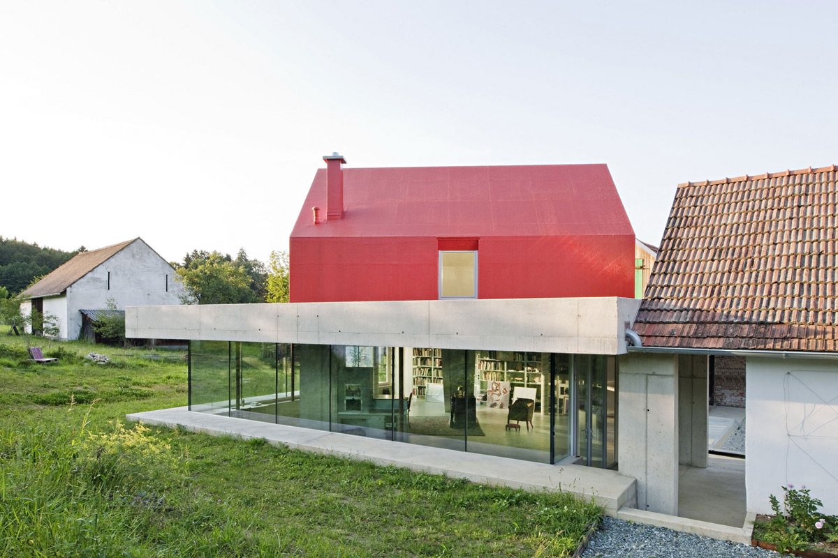Exposed Concrete & Glass Walls, Old Farm House Renovation and Expansion in Burgenland, Austria