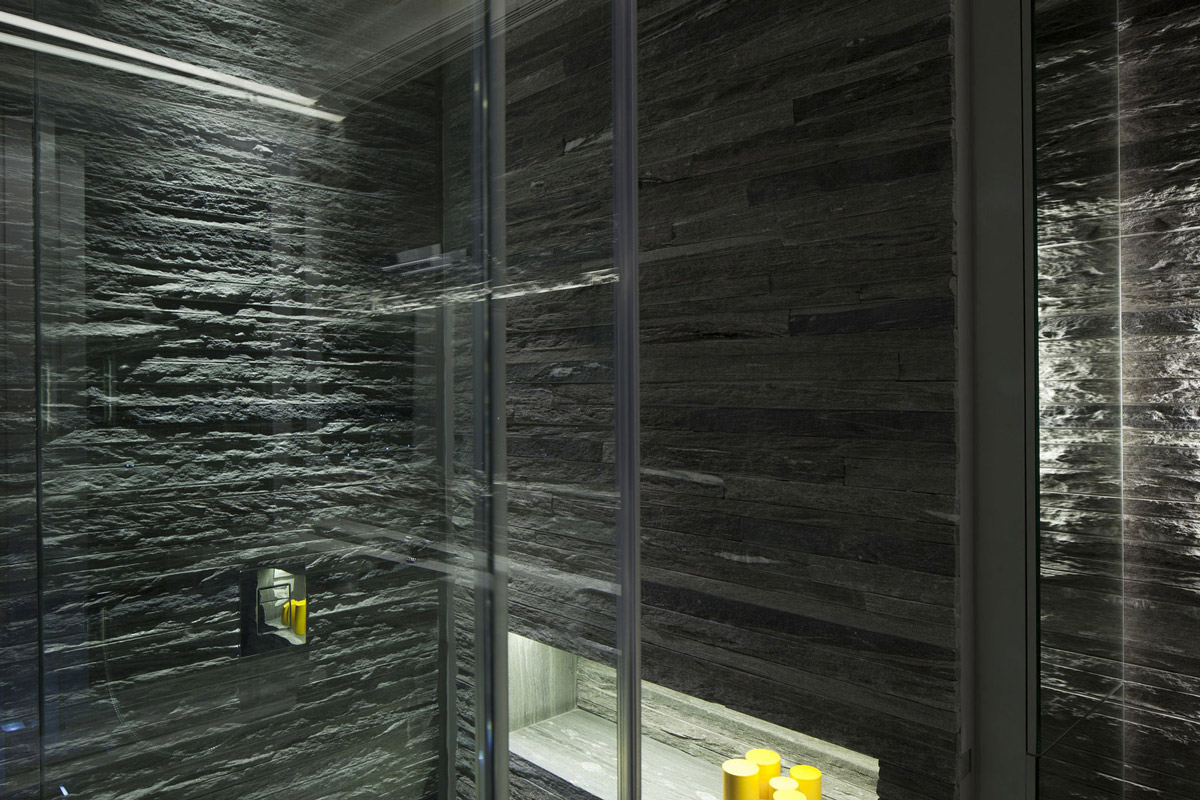 Bathroom Lighting Stone Tiles Glass Walls Elegant