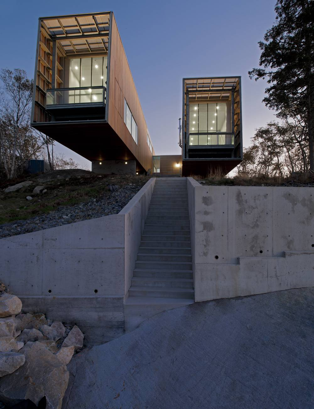 Concrete Steps, Wall, Cantilevered Home in Port Mouton, Nova Scotia