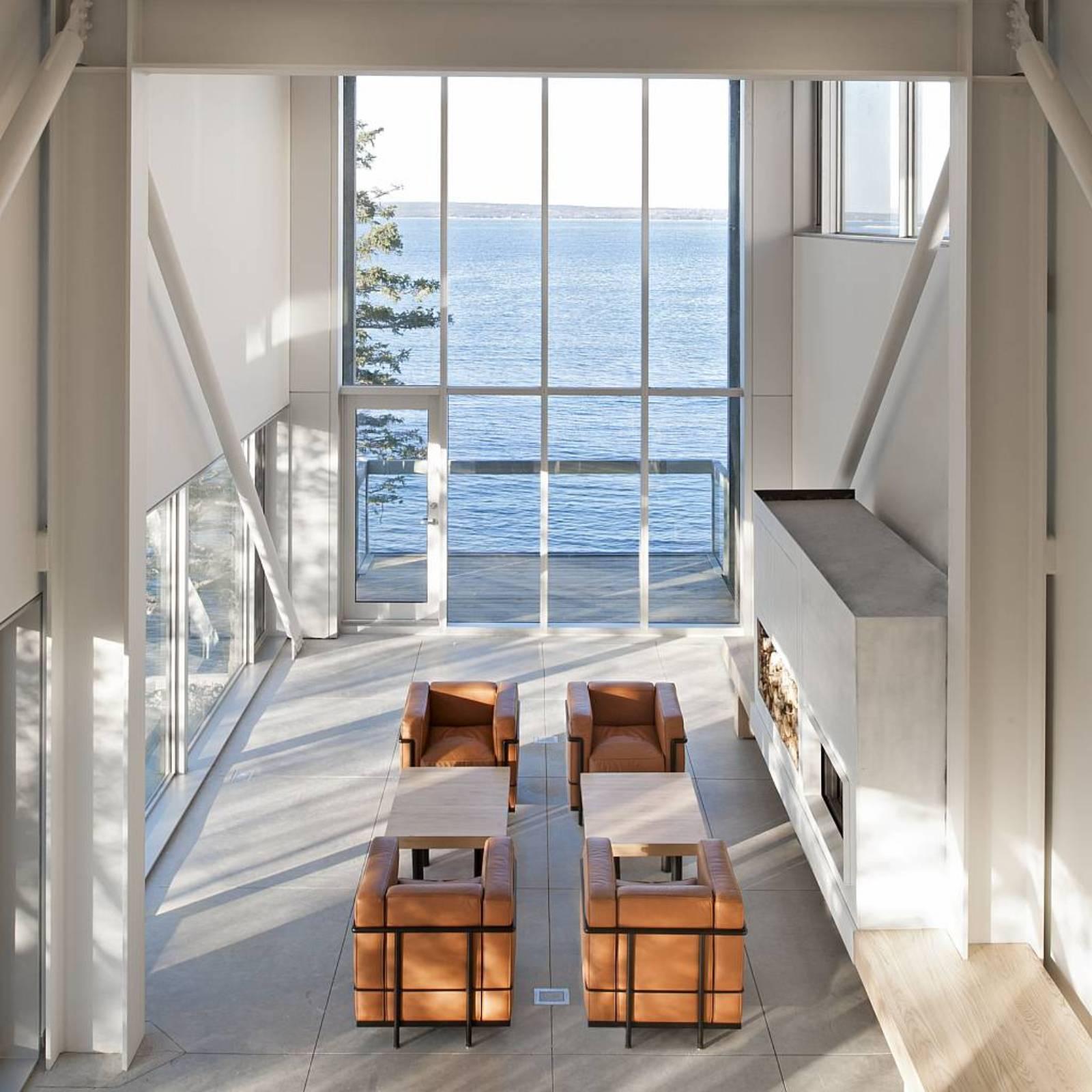 Glass Wall, Living Room, Home in Port Mouton, Nova Scotia