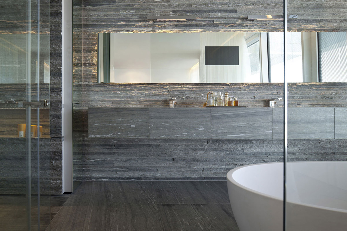 Large Mirror Stone Tiles Bathroom Elegant Apartment