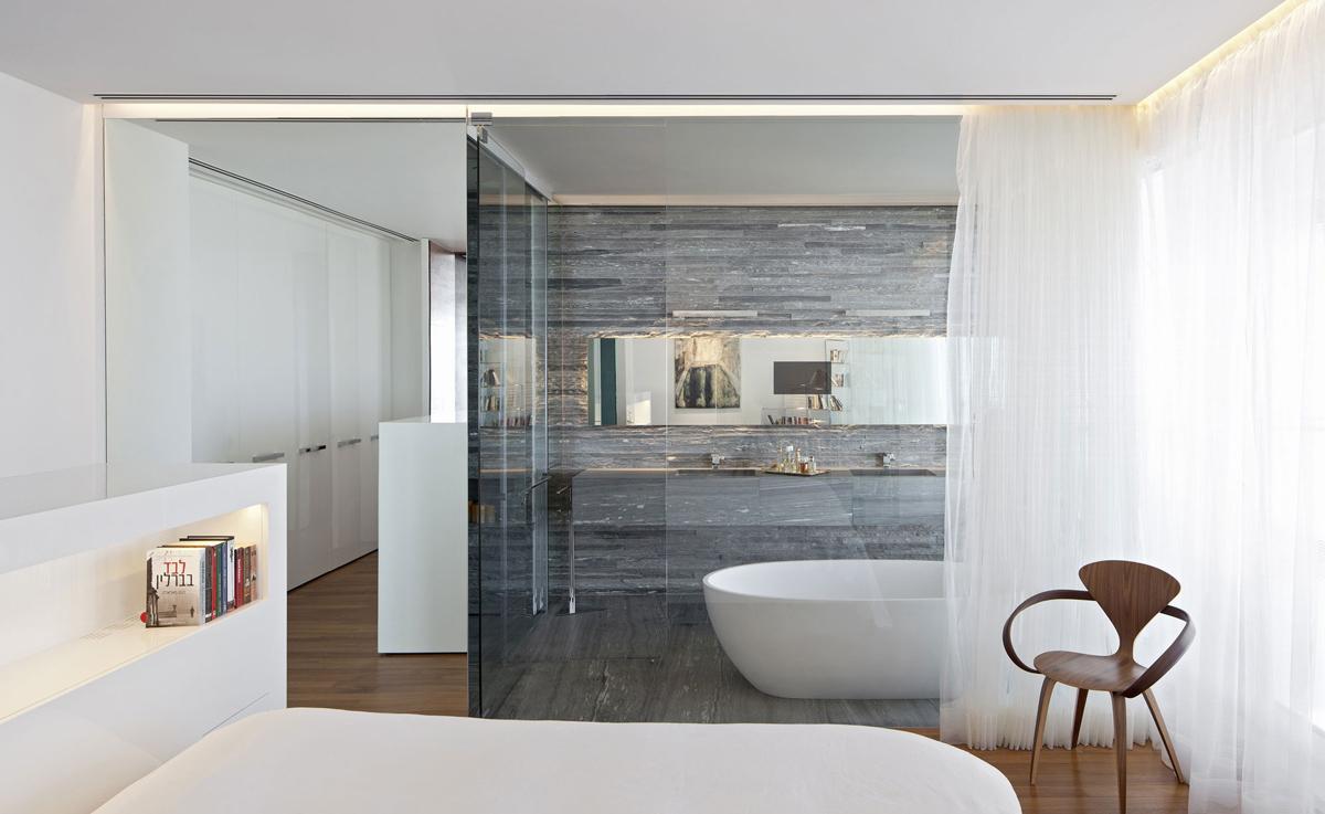 Stone Tiles Glass Wall Bathroom Bedroom Elegant