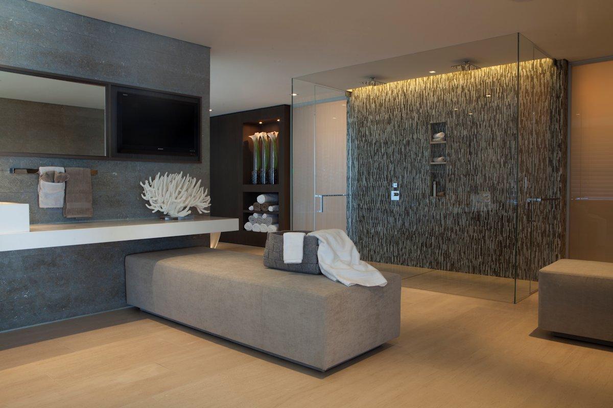 Glass Double Shower Bathroom Beach House In Laguna Beach