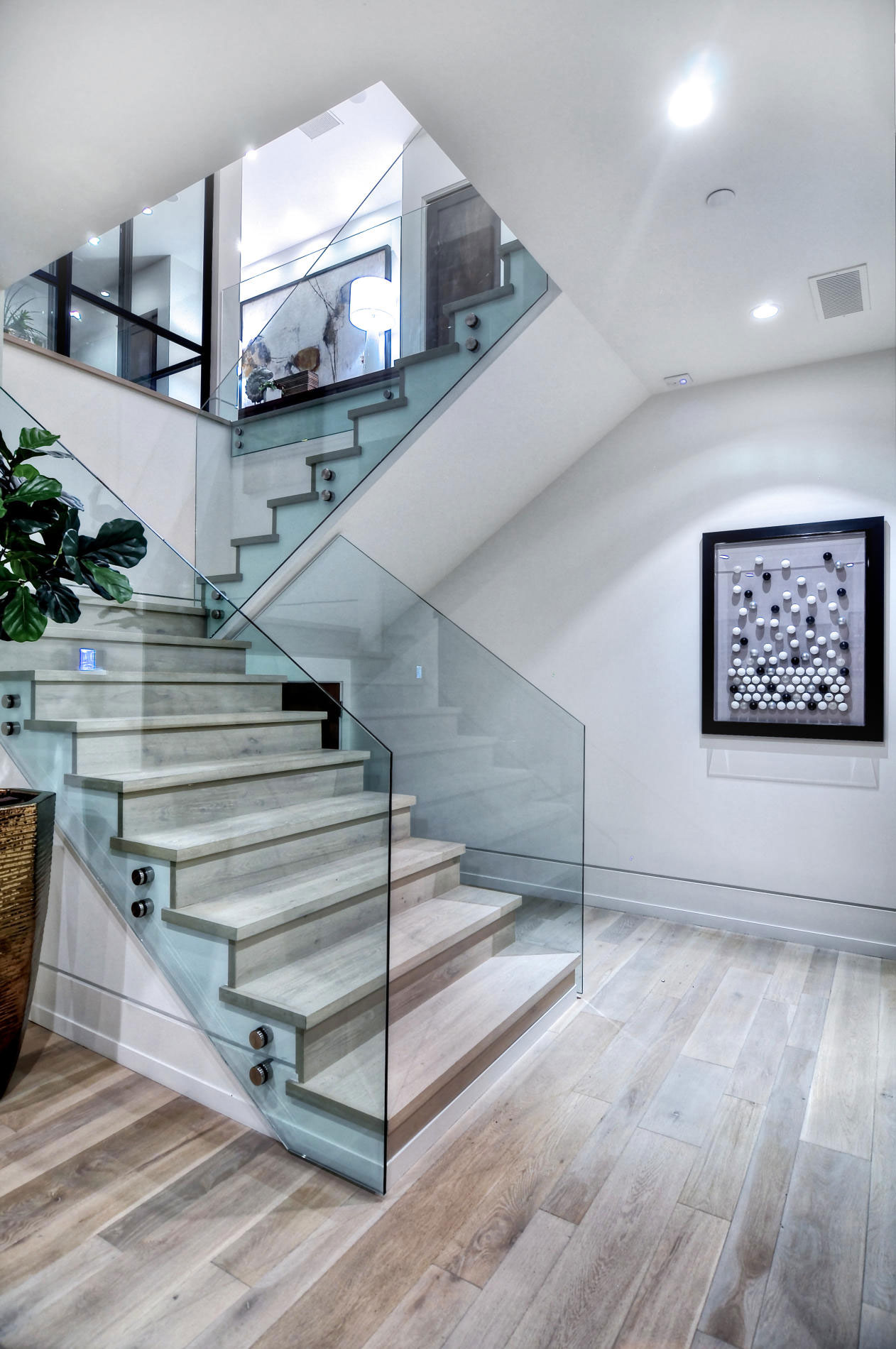 Wood Glass Stairs Home In Corona Del Mar California