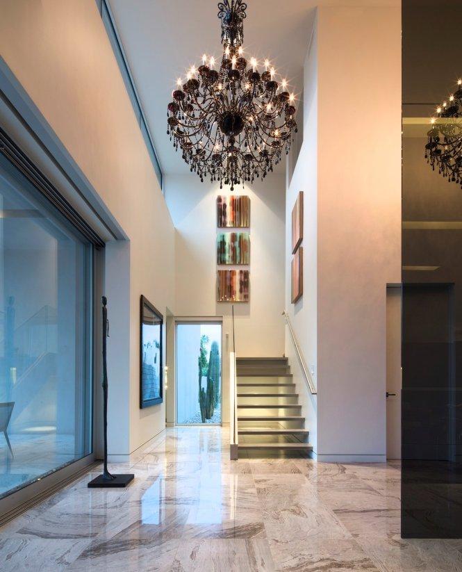 Modern Stairs Hallway Dark Chandelier Mid Century Home In Scottsdale Arizona