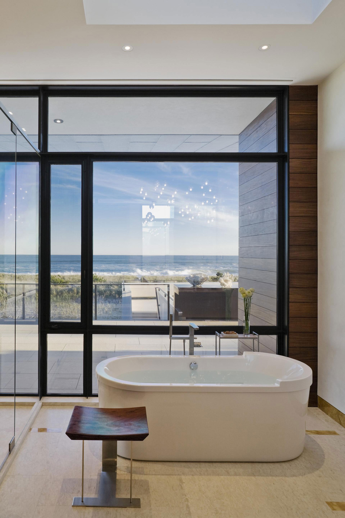 Bathroom Tub Floor To Ceiling Windows Summer Retreat In