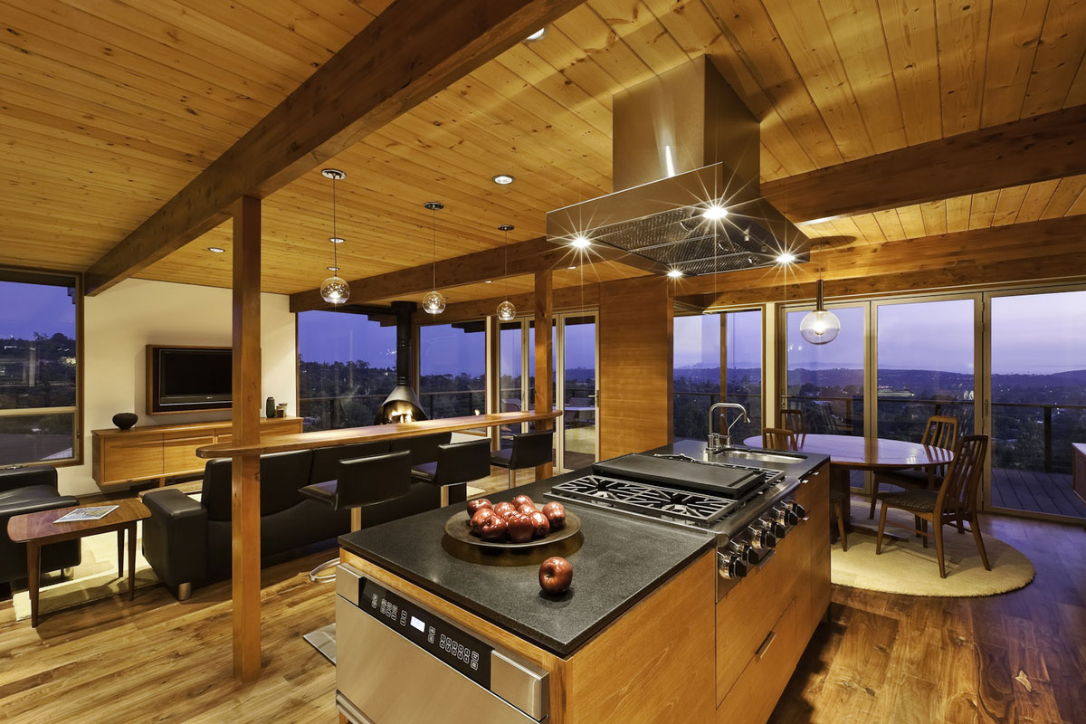 Kitchen Island Dining Living Space Mid Century Modern