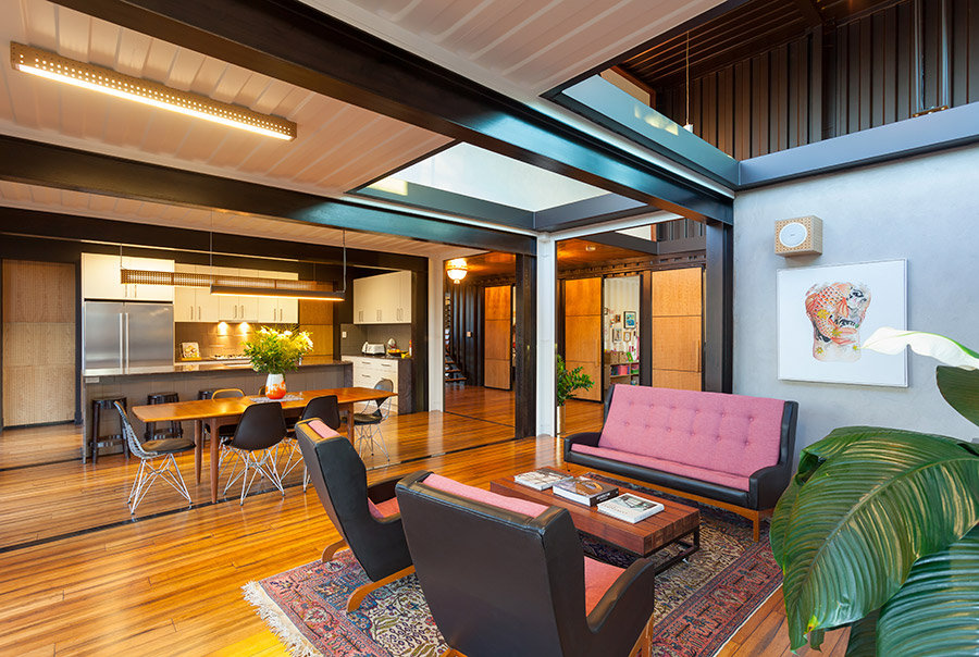 Open Plan Living Dining Space Shipping Container Home In