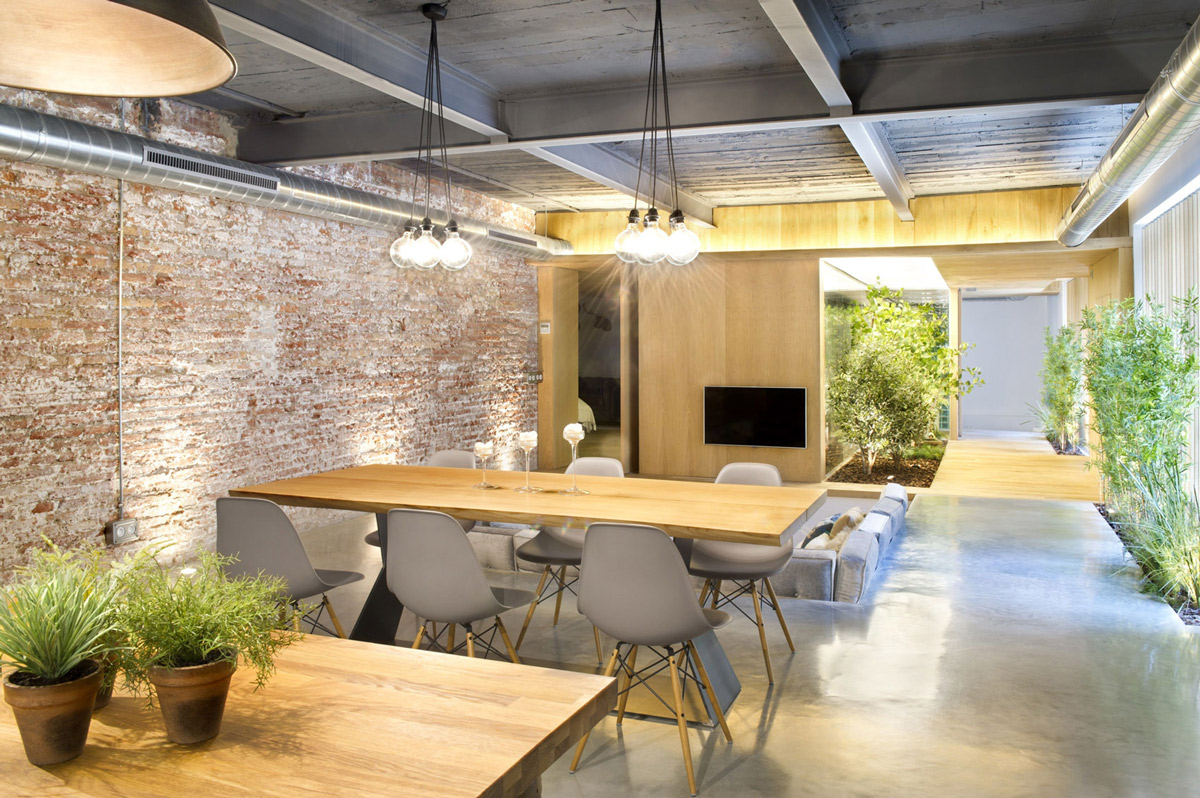 Wood Dining Table Pendant Lighting Living Room Loft