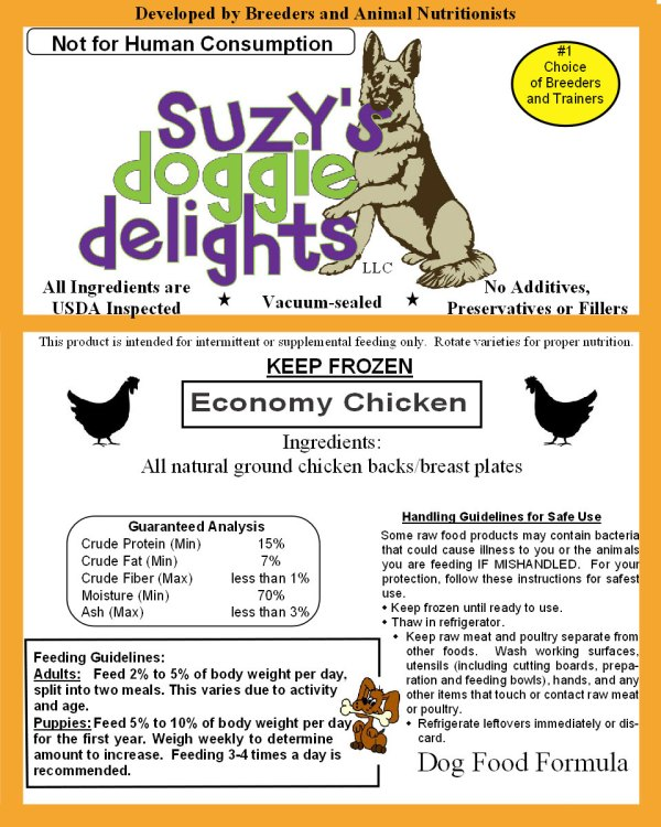 Economy Chicken – Arizona – Suzys Doggie Delights